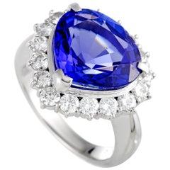 Diamond and Tanzanite Trillion Cut Platinum Ring
