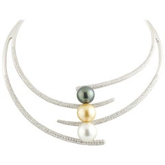 Diamond and Three Pearl Choker Necklace 9.90 Carat in Diamonds