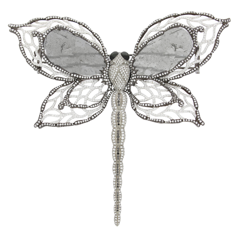 Chatila Diamond and Tiger's Eye Dragonfly Brooch