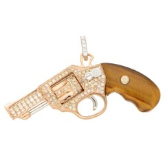 Diamond and Tigers Eye Jewelled Revolver Pendant Set in 18k Rose Gold