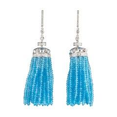 Diamond and Topaz Dangle Earrings