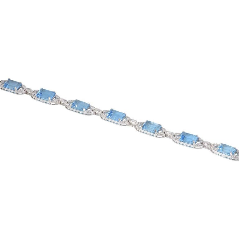 Women's Diamond and Topaz Link Bracelet For Sale
