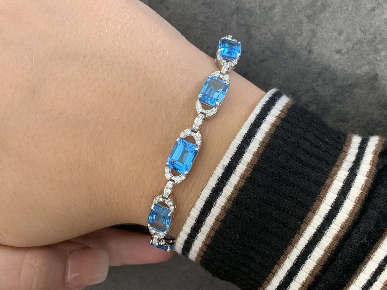 Diamond and Topaz Link Bracelet For Sale 1