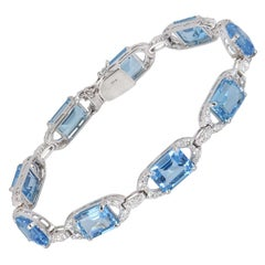 Diamond and Topaz Link Bracelet