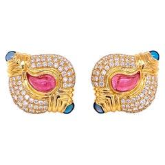 Diamond and Tourmaline Casmir Gold Designer Earrings Fine Estate Jewelry