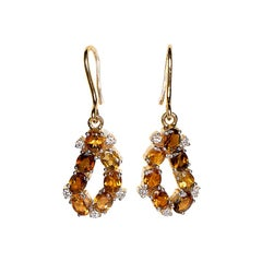 Diamond and Tourmaline Earrings in 18 Karat Yellow Gold