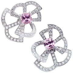 Diamond and Pink Sapphire on White Gold Earrings