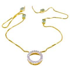 Diamond and Tourmaline Station Necklace in 18 Karat Yellow Gold