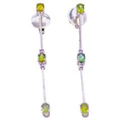 Diamond and Tourmaline Stick Earrings in 18 Karat White Gold