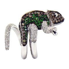 Diamond and Tsavorite Designer Chameleon Ring in 18 Karat White Gold