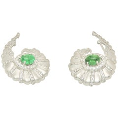 Diamond and Tsavorite Earrings in 18 Karat White Gold