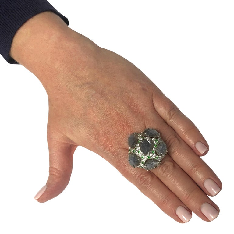 Modern Diamond and Tsavorite Garnet Cocktail Ring For Sale