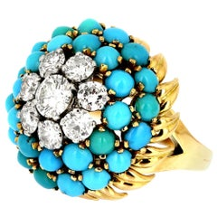 Diamond and Turquoise Blue Bombe Cluster/Cocktail ring in Bi-Metal 18 Carat Gold