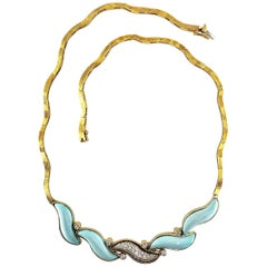 Diamond and Turquoise Brushed 18 Karat Yellow Gold Wavy Link Choker Necklace