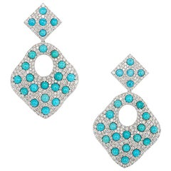 Diamond and Turquoise Drop Earrings 6.02 carats