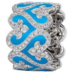 Diamond and Turquoise Enamel Band Ring