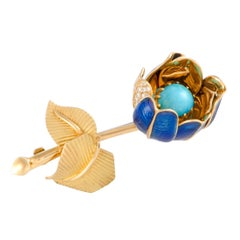 Diamond and Turquoise Enameled Yellow Gold Flower Brooch