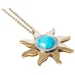 Diamond and Turquoise Gold Sun Pendant Necklace