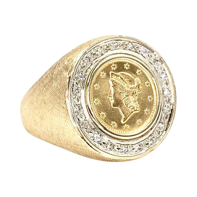 Diamond and U. S. Liberty Head Coin Men's Ring