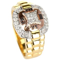 Diamond and Watch Band Style Ring, 14 Karat Yellow and Rose Gold
