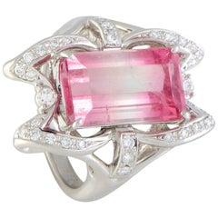 Diamond and Watermelon Tourmaline Platinum Rectangle Ring