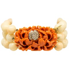 Diamond and White Coral Multi-Strand Bracelet