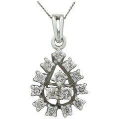 Diamond and White Gold Cluster Pendant