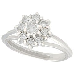 Diamond and White Gold Cluster Ring