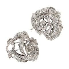 "Diamond and White Gold Contemporary ""Rosebud"" Earrings"