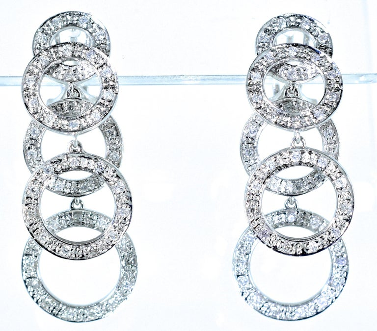 Women's or Men's Diamond and White Gold Dangling Earrings For Sale