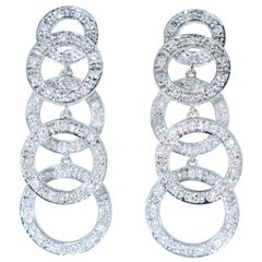 Diamond and White Gold Dangling Earrings