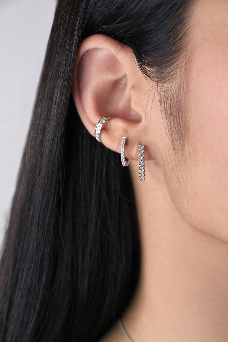 Round Cut Diamond and White Gold Earcuff Earring For Sale