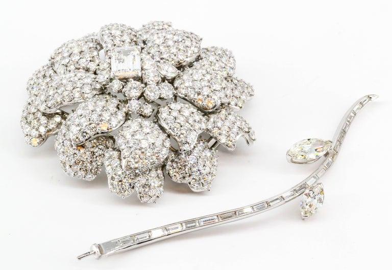 Diamond White Gold Flower Brooch Separating Stem For Sale 1