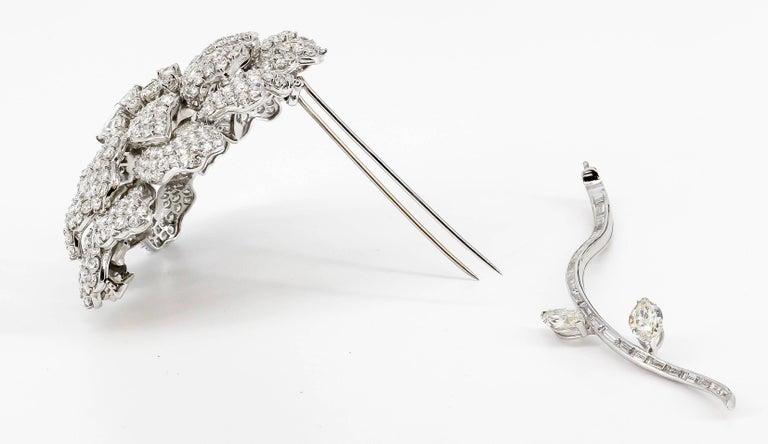 Diamond White Gold Flower Brooch Separating Stem For Sale 2