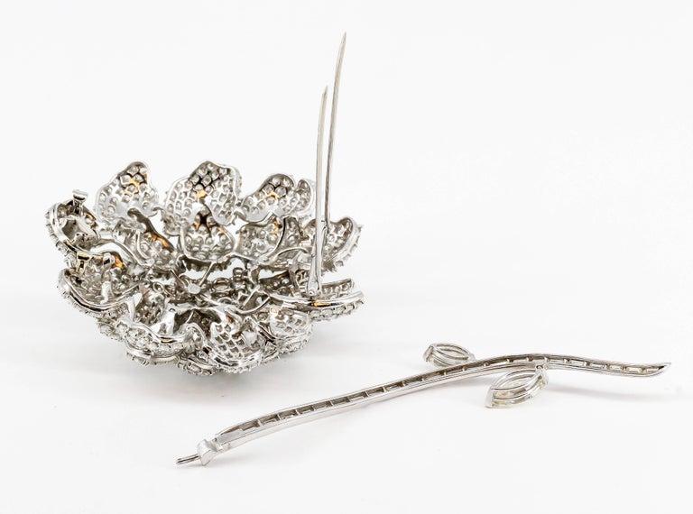 Diamond White Gold Flower Brooch Separating Stem For Sale 3