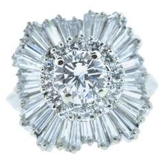 Diamond and White Gold Flower Motif Ring
