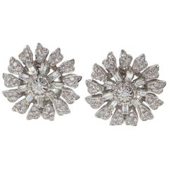 Diamond and White Gold Large Flower Stud Earrings