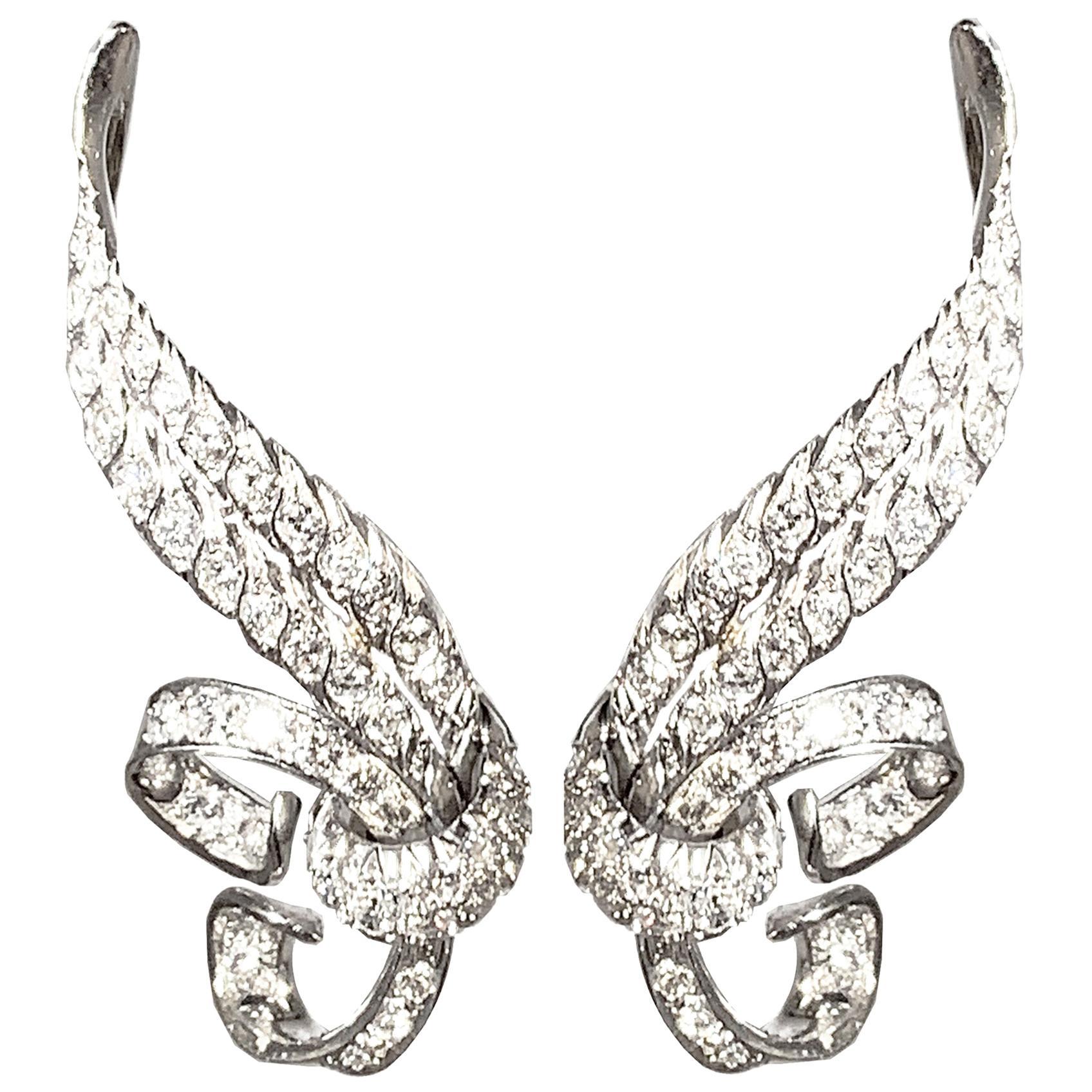 Vintage Diamond and White Gold Love Knot Earrings Italian Dolce Vita  Design