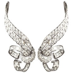 Diamond and White Gold Love Knot Earrings Italian Dolce Vita 1950s Design