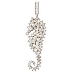 Diamond and White Gold Sea Horse Pendant Necklace
