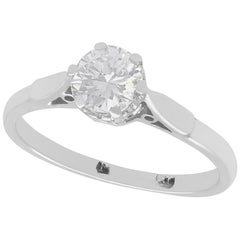 Diamond and White Gold Solitaire Ring