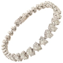 Diamond and White Gold Straight Line Bracelet