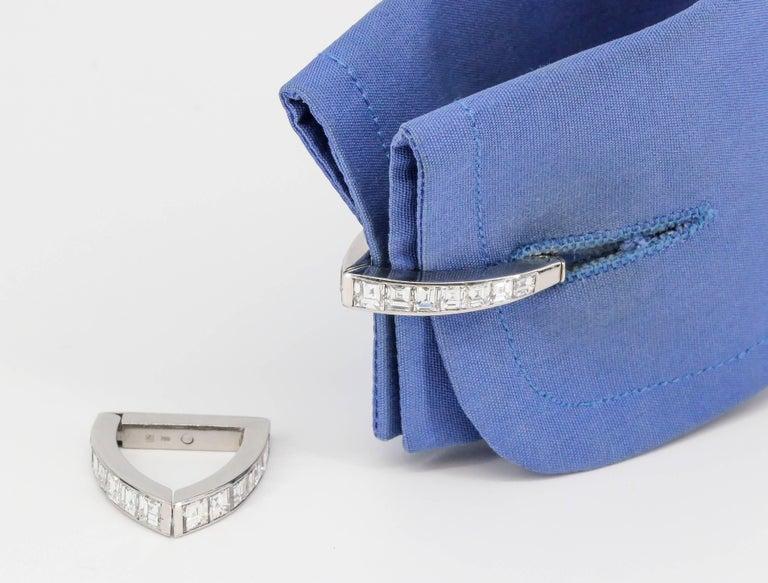 Diamond and White Gold Triangle Wrap-Around Cufflinks For Sale 4