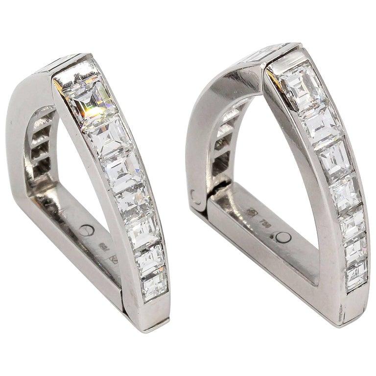 Diamond and White Gold Triangle Wrap-Around Cufflinks For Sale