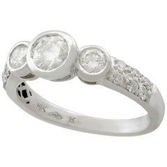 Diamond and White Gold Trilogy Ring, circa 1980