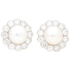 Diamond and White Pearl Cluster Earrings Set in 18 Karat White Gold
