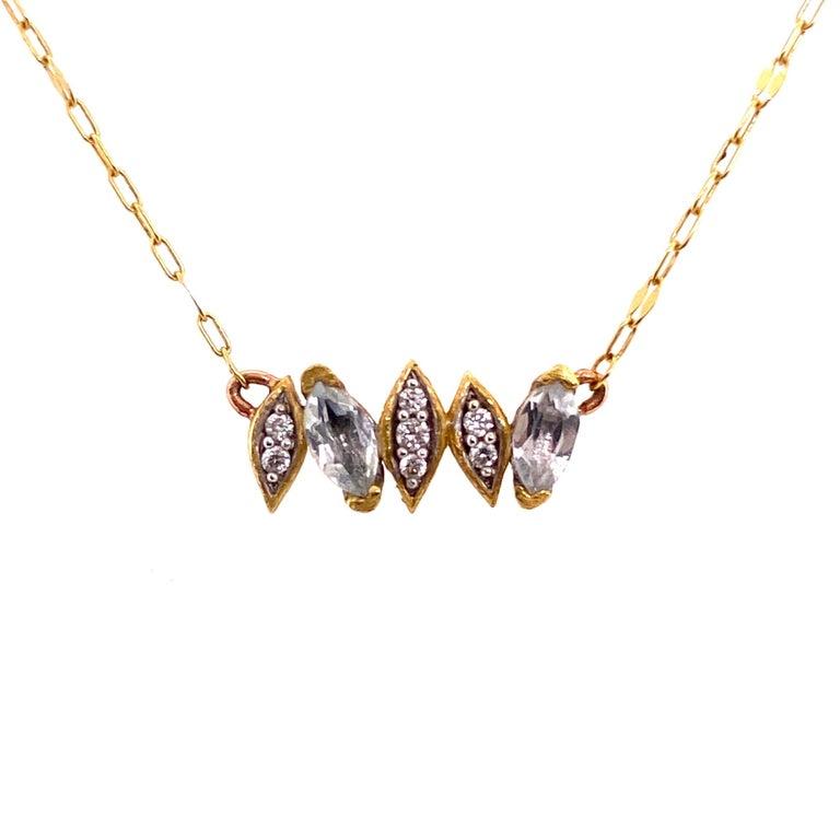 Modernist Diamond and White Topaz Jude Frances 18K Gold Necklace Estate Fine Jewelry For Sale