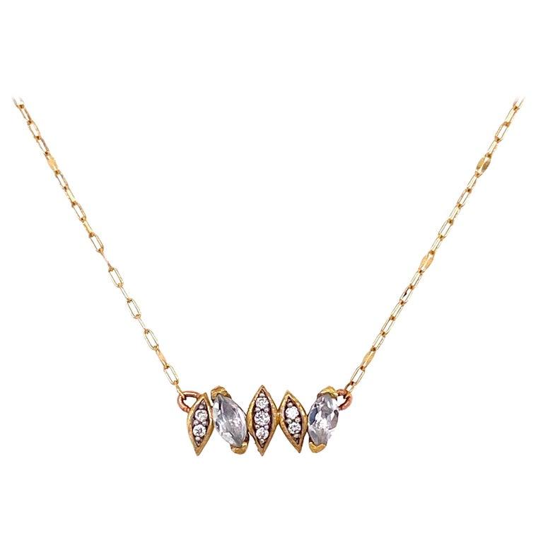 Diamond and White Topaz Jude Frances 18K Gold Necklace Estate Fine Jewelry For Sale
