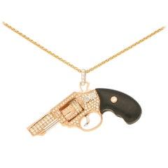 Diamond and Wood Jewelled Gun Pendant in Rose Gold