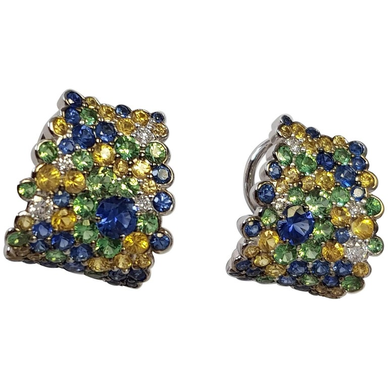 Diamond and Yellow and Blue Sapphire Hoop Earrings in 18 Karat White Gold For Sale